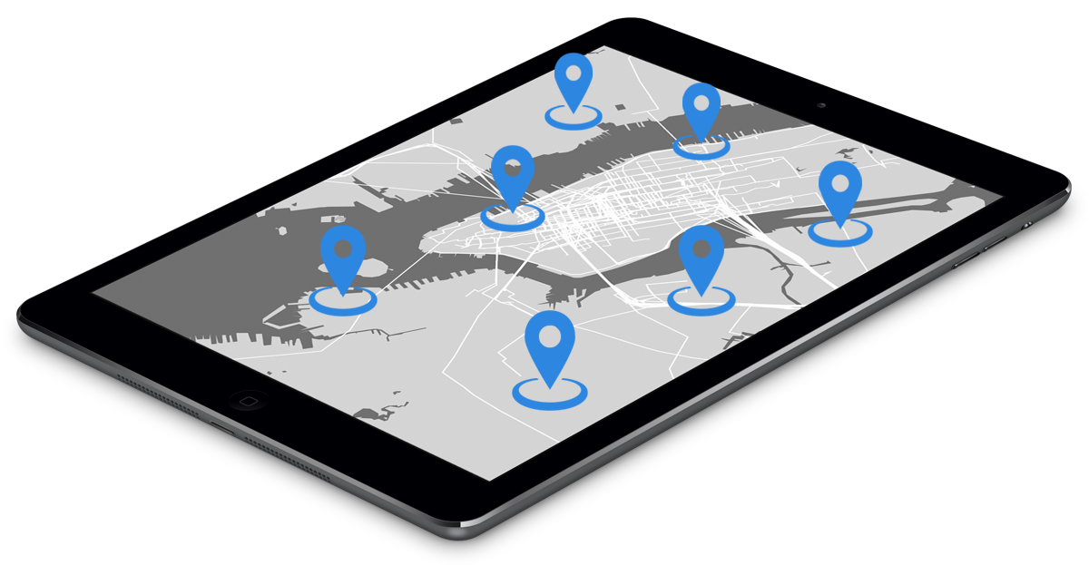 tablet featuring geocoding